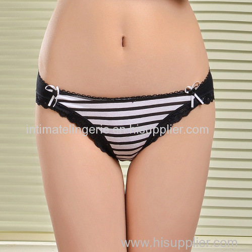 2015 New laced brief stripe print bikini stretch cotton women underwear lady boyshort lady panties lingerie intimate