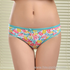 2015 New printed brief soft lady bikini stretch cotton women underwear lady boyshort lady panties lingerie intimate