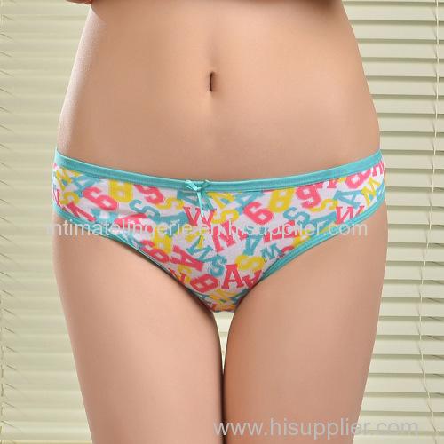 2015 New printed brief soft lady bikini stretch cotton women underwear lady boyshort lady panties lingerie intimate