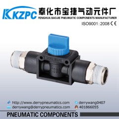 Plastic check valve push-in pneumatic fittings