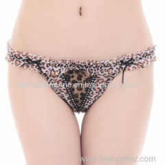 Promotion sexy Leopard mesh thong sexy Underpants lace g-string sexy lady panties women underwear t-back hot lingerie in