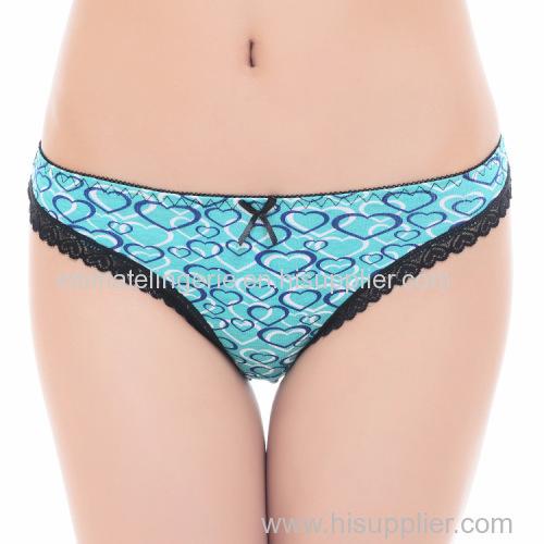 2015 New heart print cotton thong Damenunterhosen girl g-string sexy women underwear stretch lady panties hot lingerie T