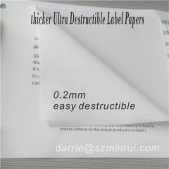 Hot sale thicker facestock label papers self adhesive breakable label material.
