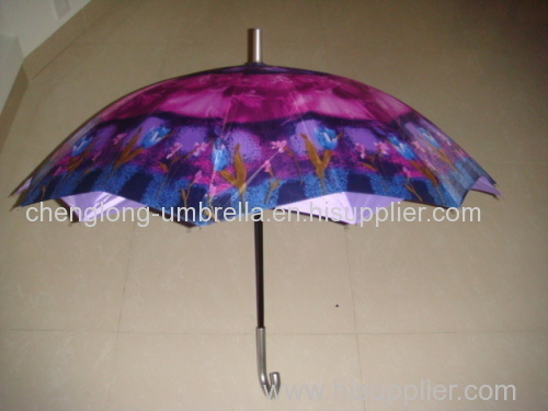 OUTSIDE PRINT INSIDE SOLID DOUBLE LAYER STRAIGHT UMBRELLA
