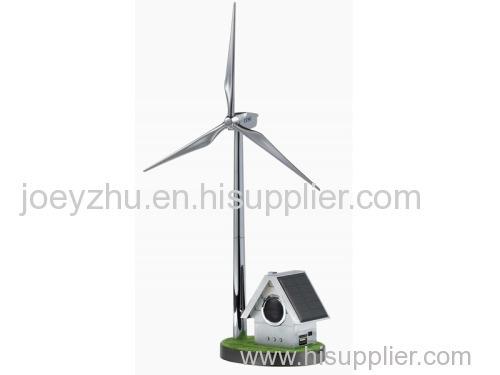 Custom Solar Windmill with Small House Radio Player wind turbine models