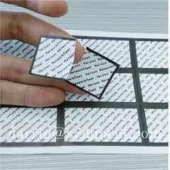 Custom destructible labels for tamper evident proof seal labels.