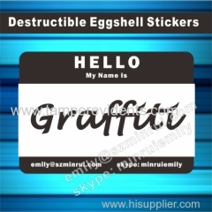 Self Destructive Eggshell Stickers Name Tags