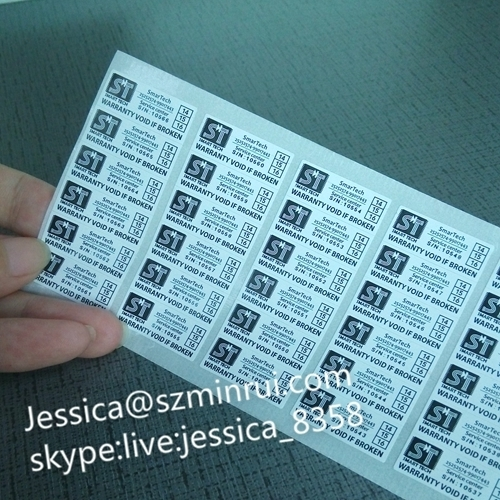 Hot Sale Custom Self Adhesive Fragile Warranty Sticker With Years And Dates From Professional Minrui