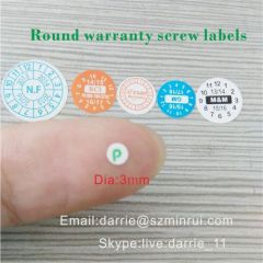 Eggshell warranty screwlabels.small tamper evident seal for screw stickers.
