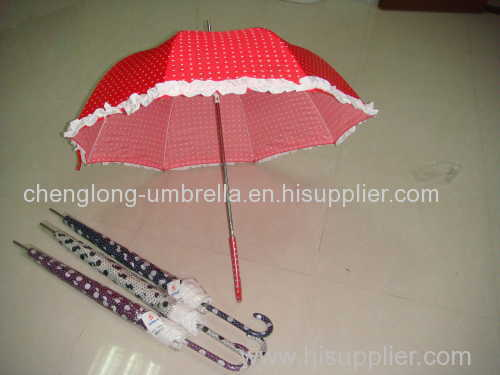 AUTO OPEN STRAIGHT UMBRELLA WITH LACE