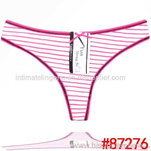 New arrival stripe cotton thong Underpants spandex g-string sexy lady panties women underwear t-back hot lingerie intima