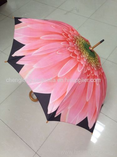 BEAUTIFUL FLOWR PRINT WOODEN UMBRELLAS
