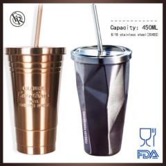 high qulity starbucks stainless steel mug tumbler with straw and custom logo