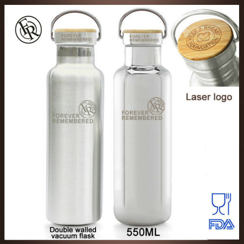 Mirror finished custom double wall stainless steel BPA free vacuum cycling water bottle with logo printing