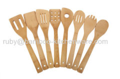 Manmade Long Handle Bamboo Wooden Kitchen Dinnerware Fork and Spoon Utensil Gift Set