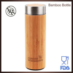 BPA free eco-friendly custom logo stainless steel bamboo tea thermos bottle