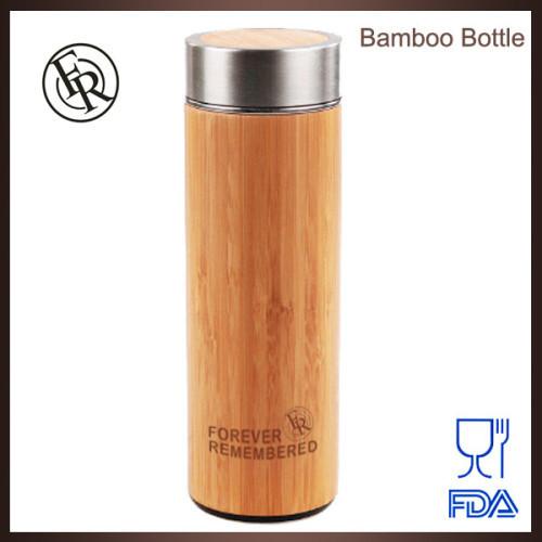 BPA free eco-friendly custom logo stainless steel bamboo tea thermos bottle