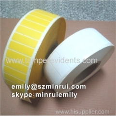 Custom Blank Yellow Tamper Evident Breakaway Barcode Labels In Rolls