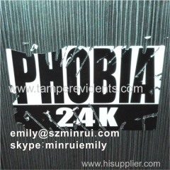 Black printed 10x6cm brittle destructive vinyl eggshell stickers