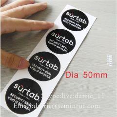 Custom Black RoundTamper proof seal labe Sticker.Custom Private Design Destructible Vinyl Tamper Evident Labels.