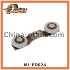 Twin Nylon roller wheel for sliding Curtain Track