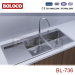 Satin Double bowl Single drainer Welding rectangle/Square Kitchen Hand-Made Sink 304# BL736
