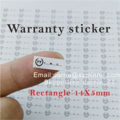 Small Rectangle 14X5mm on the electronics Destructible Self-Adhesive crumblin with date and logo warranty sticker.