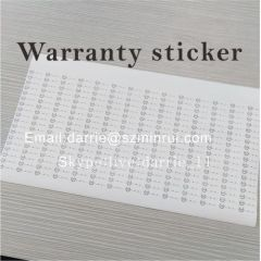 Custom any design printing destructible warranty sticker.Tamper evident warranty stickers for mobile electronic and etc.