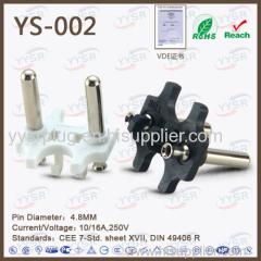 4.8mm holland plug insert VDE plug cee7 17 standard socket plug