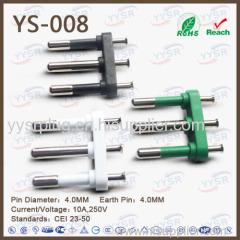 4.0mm 3 pin pin italian plug insert 3 pin italy plug italian standard cei 23 5