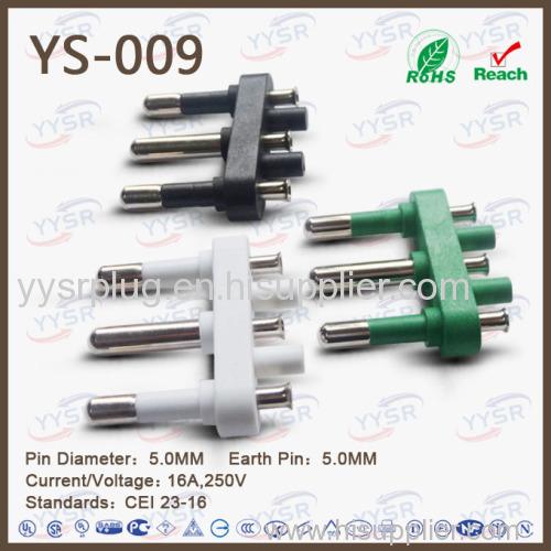 5.0mm 3 pin italy plug insert italy electric plug insert unpolarized plug