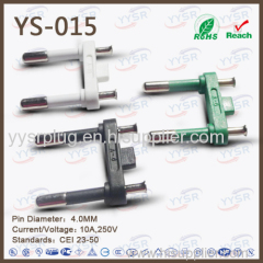 4.0mm 2 pin pin italian plug insert two poles plug inse rac plug adapterst