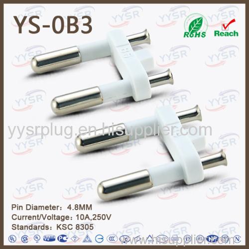 korean plug insert power plug parts 2 round pins plug insert