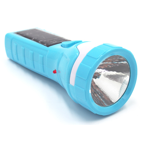 Plastic Solar Rechargeable LED Flashligt.
