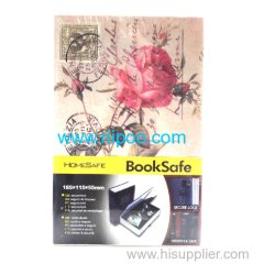 Riipoo Book Style Safe Case Front cover Rose With Lock and Two Keys M Size Book Diversion Hidden Book Safe With Strong