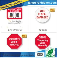 Protect your warranties with a tamper evident self-adhesive warranty void labels