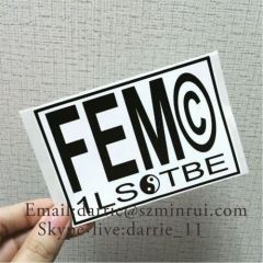 Custom any design Eggshell sticker . Destructible vinyl label material Printed in black and white two colors