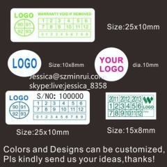 Top Quality Paper Warranty Sticker Anti-counterfeit Printable Destructible Seal Paper Void Warranty Sticker