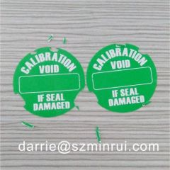 Custom green round CALIBRATION Tamper Evident material diameter of 22mm warranty label.void if seal damaged