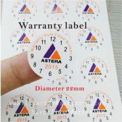 Custom 3 kinds of color printing round destructible self-adhesive warranty label with your logo and date