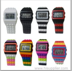 Multi Color Building Block Digital Casual Construction Brick Watch for Lego