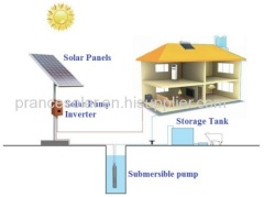 solar powered submersible deep water well pump system