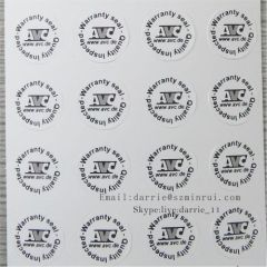 Small circular Diameter 10mm on the electronics Destructible Self-Adhesive crumblin warranty sticker.