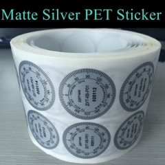 China Supplier Strong Adhesive Silver PET Sticker Printing PET Silver Label Accept Custom Design Printed Stickers