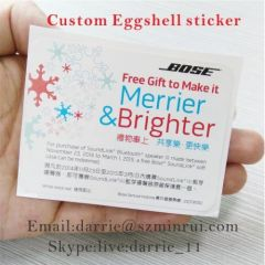 Design and printing color advertising 6X8cm Destructible Eggshell sticker for free