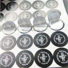 Custom small round diameter 9.0mm Self adhesive vinyl destructible label paper for warranty label use on electronics