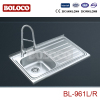 U.K/England Polish/Satin/Ele-pearl Single bowl Single drainer Welding rectangle/Square Kitchen Sink 304# BL961L/R