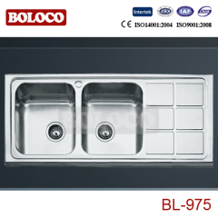 Italy High Quality Matt Double bowl Single drainer Welding rectangle/Square Kitchen Sink 304# BL975