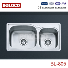 Practical Middle Polish/Satin/Ele-pearl Double bowl Welding rectangle/Square sink 304# BL805