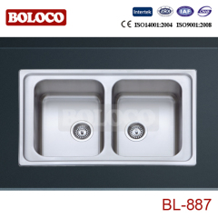 Europe Middle&High Polish/Satin/Ele-pearl Double bowl Welding rectangle/Square Sink 304# BL887